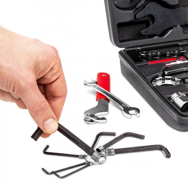 fahrrad velo werkzeug koffer reparatur set 37 tlg fahrzeug velo fahrrad. Black Bedroom Furniture Sets. Home Design Ideas