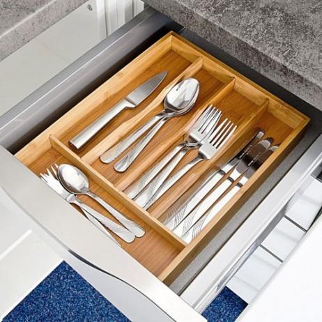 besteckkasten schubladeneinsatz aus bambus holz 33 25 4 5cm haushalt k che besteck co. Black Bedroom Furniture Sets. Home Design Ideas