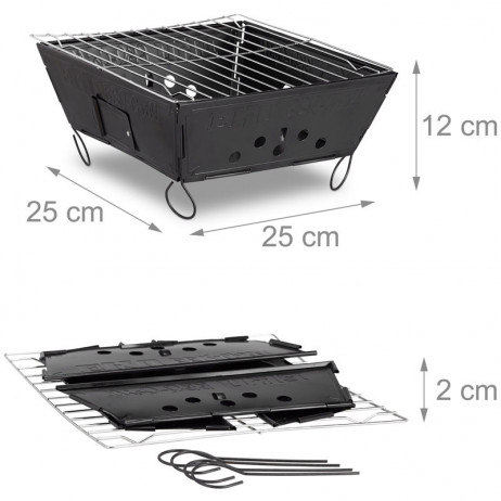 Leichter Holzkohle GRILL Outdoor Klappgrill Faltgrill – Bild 6